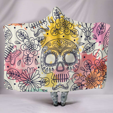 Pastel Sugar Skull Hooded Blanket