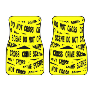 Police Crime Tape Front Car Mats Set Of 2