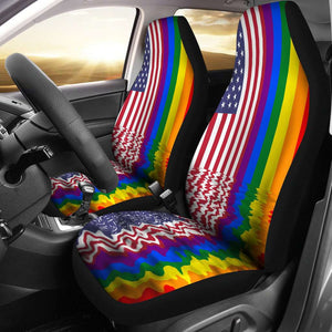 LGBT Pride Lovers Rainbow Flag Car Seat Covers