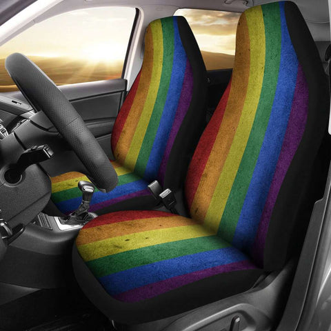 LGBT Pride Lovers Distressed Flag Car Seat Covers