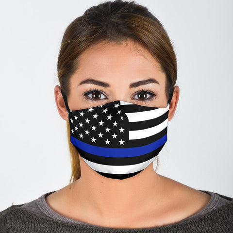 Thin Blue Line Face Masks With Filters