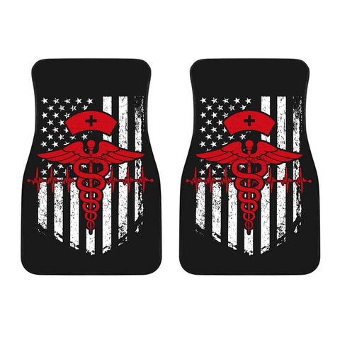 Nurse Flag Red Symbol Front Car Mats (Set Of 2)