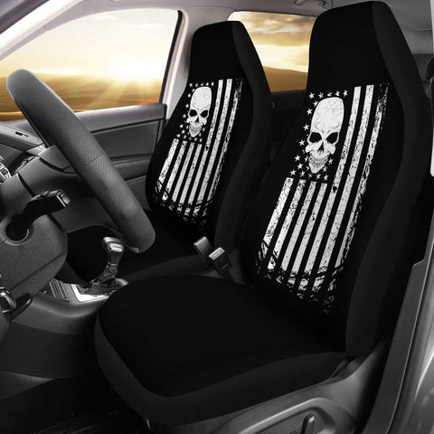 Image of Patriotic Skull Flag Car Seat Covers
