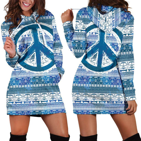 Image of Bus and Peace Hippie Women's Hoodie Dress