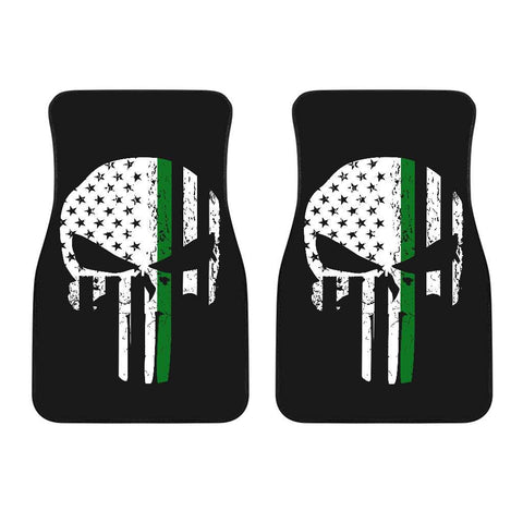 Army Thin Green Line Punisher Skull Front Car Mats Set Of 2