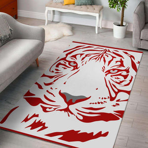 Red Tiger White Area Rug