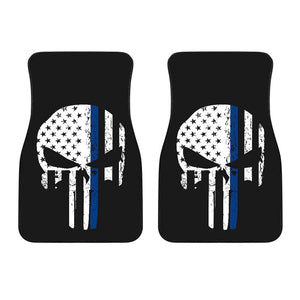 Thin Blue Line Punisher Skull Police Car Mats