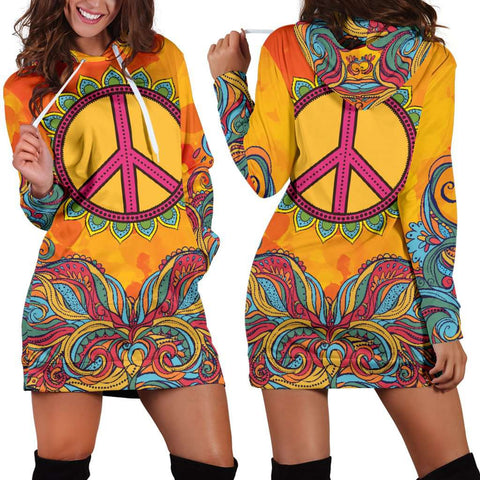 Image of Hippie Peace Hoodie Dress