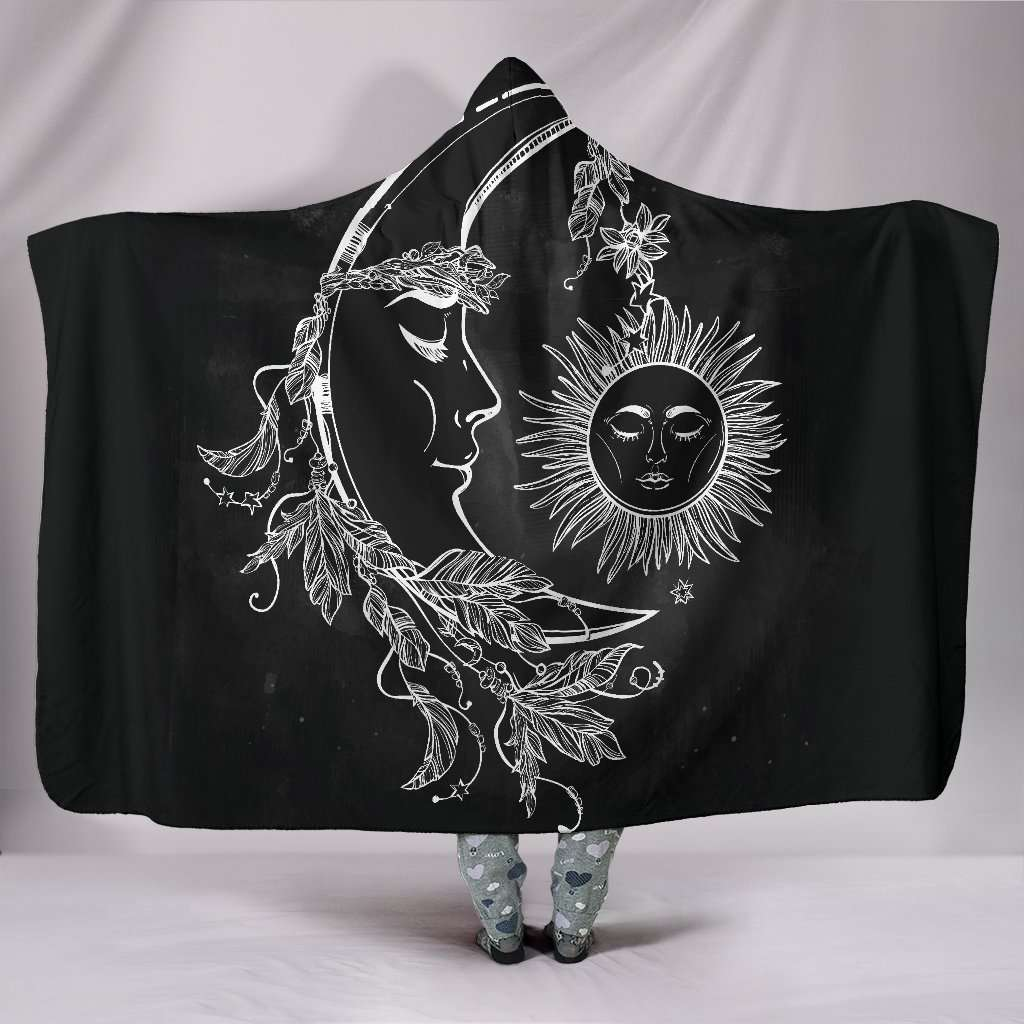 Sun and Crescent Moon Hooded Blanket