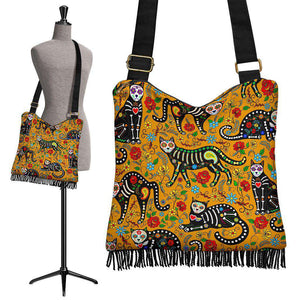 Sugar Skull Cats Crossbody Boho Handbag