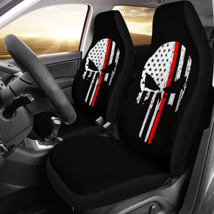 Firefighter Thin Red Line Punisher Skull Car Seat Covers