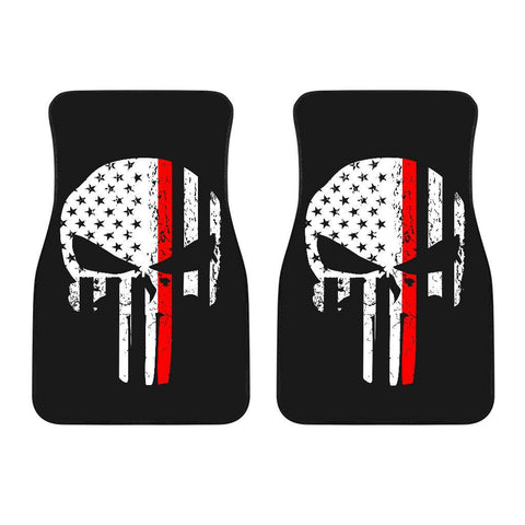 Firefighter Thin Red Line Punisher Skull Front Car Mats Set Of 2