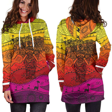 Image of Boho Elephant Women's Hoodie Dress