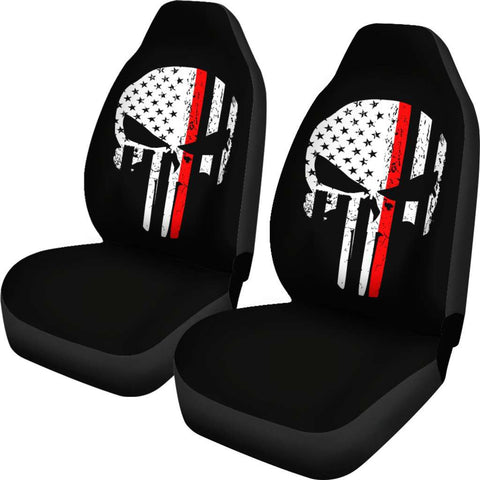 Image of Firefighter Thin Red Line Punisher Skull Car Seat Covers