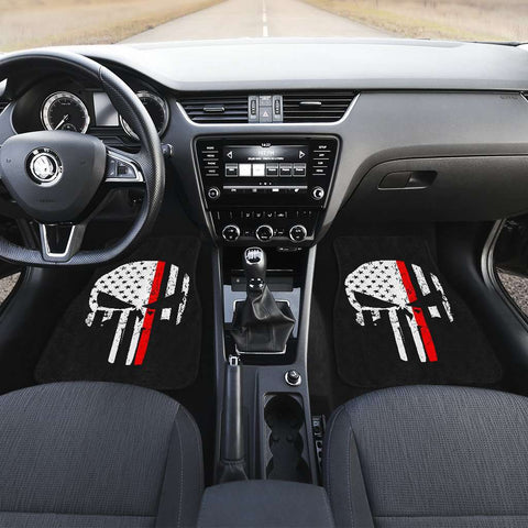 Image of Firefighter Thin Red Line Punisher Skull Front Car Mats Set Of 2