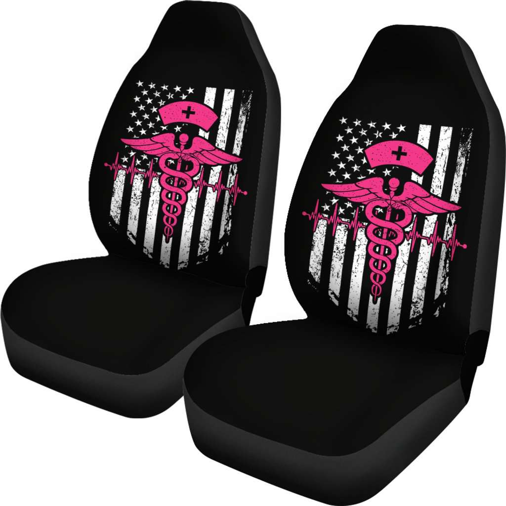 Nurse Flag Pink Symbol Car Seat Covers