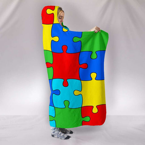 Image of Autism Jigsaw Puzzle Hooded Blanket
