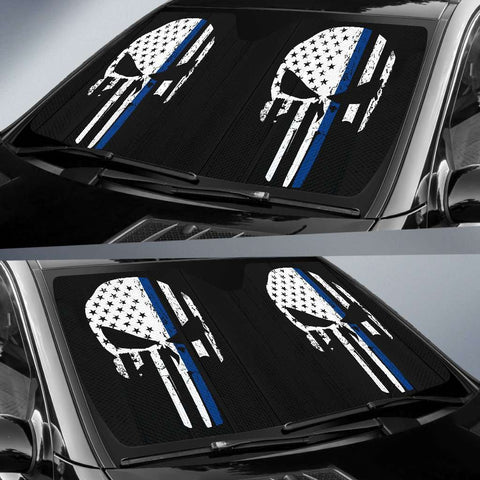 Image of Thin Blue Line Punisher Skull Police Auto Sun Car Shades