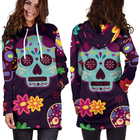 Image of Muerte Skulls and Flowers Hoodie Dress