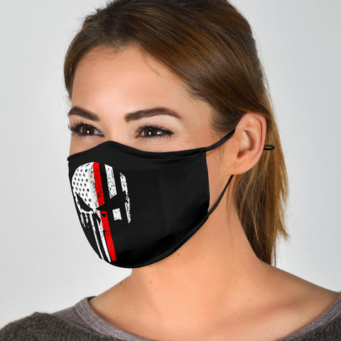 Face Masks With Filters Red Punisher Skull