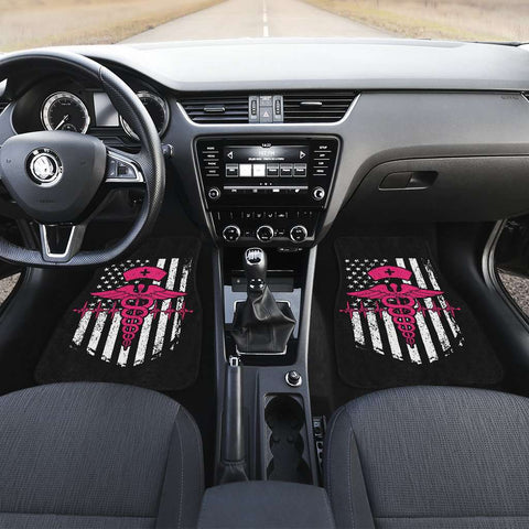 Nurse Flag Pink Symbol Front Car Mats (Set Of 2)