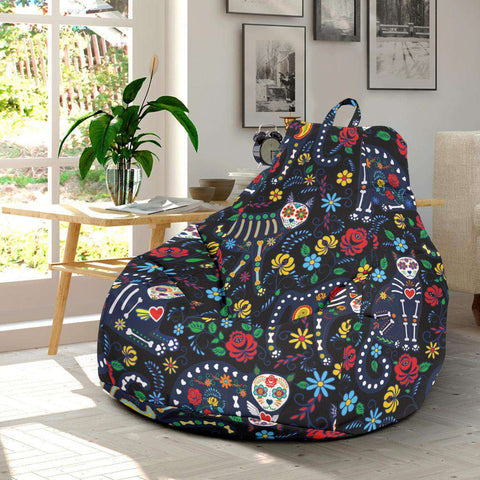 Sugar Skull Cat Bean Bag Chair