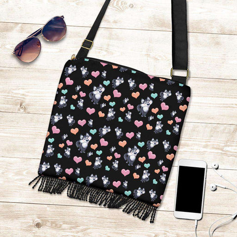Husky Dog Hearts Crossbody Boho Handbag