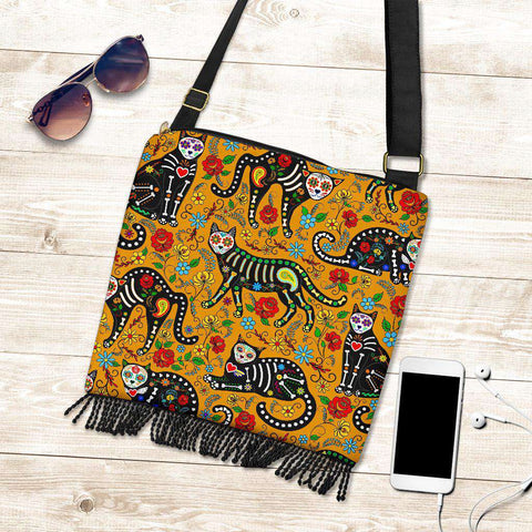 Sugar Skull Cats Crossbody Handbag