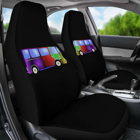 Image Of Psychedelic Hippie Minivan Car Seat Covers