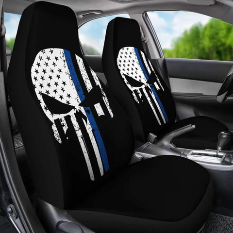 Image of Thin Blue Line Punisher Skull Police Car Seat Covers
