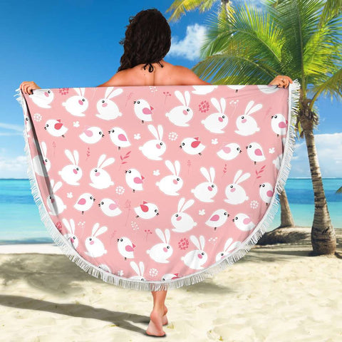 Image of Bunny Round Beach Blanket