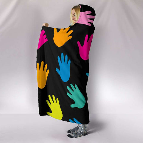 Image of Autism Hands Hooded Blanket