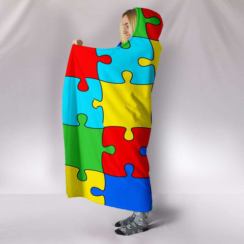 Autism Jigsaw Puzzle Hooded Blanket