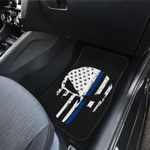 Thin Blue Line Punisher Skull Police Car Mats Set of 4
