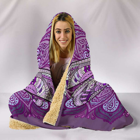 Image of Purple Dragonfly Mandala Hooded Blanket
