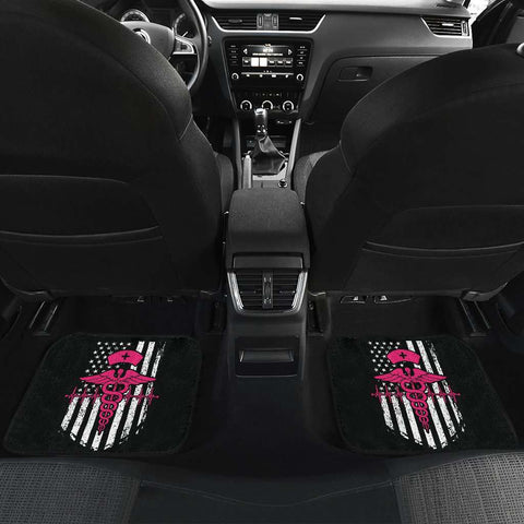 Nurse Flag Pink Symbol Front And Back Car Mats Set Of 4