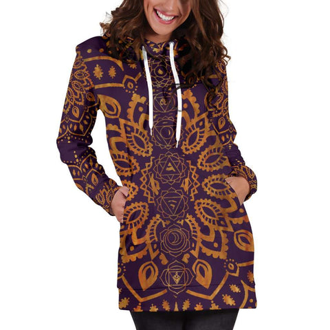Image of Gold Chakra Mandala Women's Hoodie Dress