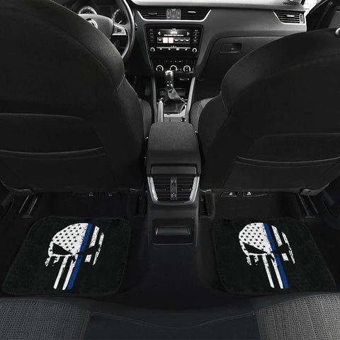 Image of Thin Blue Line Punisher Skull Police Car Mats Set of 4