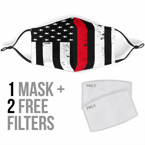 Face Masks With Filters Fire Fighter Flag
