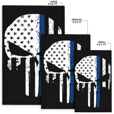 Image of Thin Blue Line Punisher Skull Police Rug