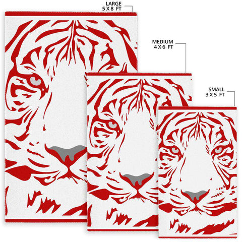 Image of Red Tiger White Area Rug