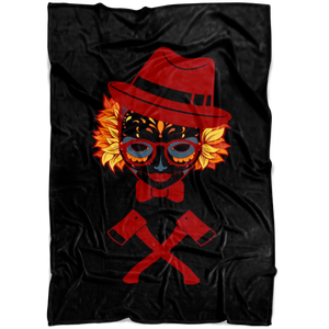 Colorful Skull Girl Wearing A Fedora And With Two Axes Under Her Fleece Blanket