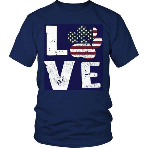 Image of Love Dog Flag T Shirt