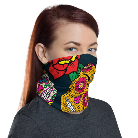 Bandana Face Mask. Sugar Skull Bandana Face Mask, Dust Face Mask, Adults Face Mask, Neck Gaiter, Bandana, Wristband, Headband, Reusable Mask