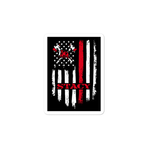 Image of STACY Firefighter Axe Flag Bubble-free stickers