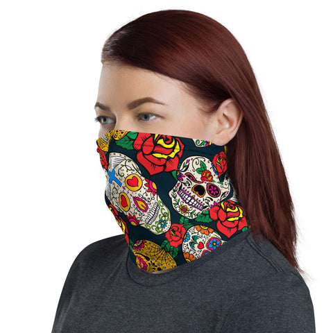 Sugar Skull Bandana Face Mask Neck Gaiter