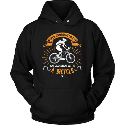 Image of NEVER UNDERESTIMATE AN OLD MEN WITH A BICYCLE T SHIRT