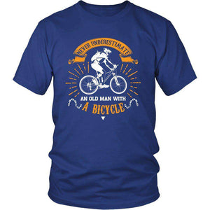 NEVER UNDERESTIMATE AN OLD MEN WITH A BICYCLE T SHIRT