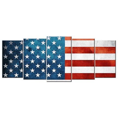 Image of American Flag Canvas Wall Art 5 panels