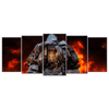 3 Firefighters Canvas Wall Art Large Frame (5 panel)